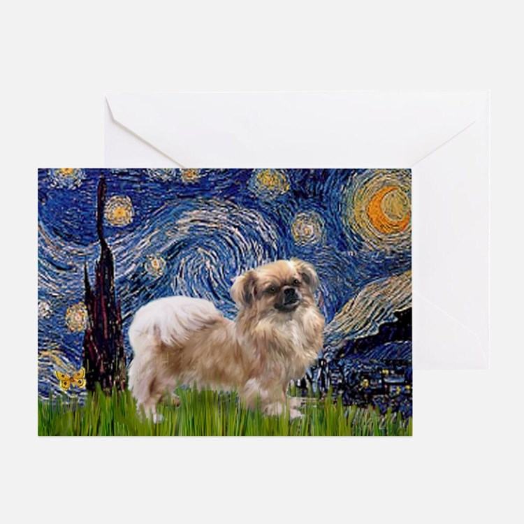 Starry / Tibetan Spaniel Greeting Card