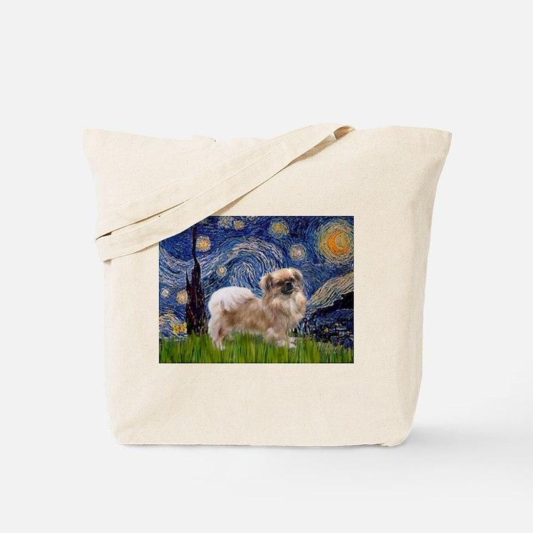 Starry / Tibetan Spaniel Tote Bag