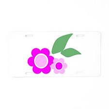 Pink Daisies Aluminum License Plate
