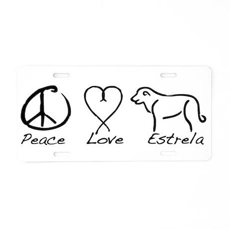 Peace Love Estrela Aluminum License Plate