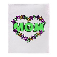 Mothers Day Heart Throw Blanket