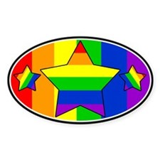 Over The Top Rainbow Star Oval Decal