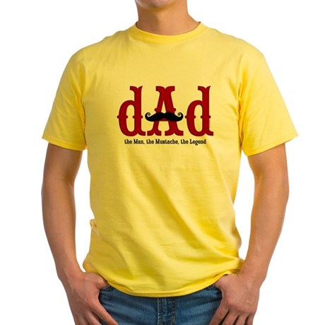 Mustache Dad Yellow T-Shirt