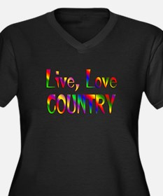Live Love Country Women's Plus Size V-Neck Dark T-