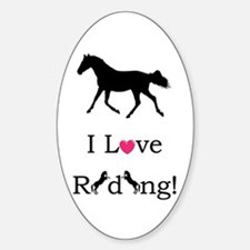 Cute I Love Riding! Horse Sticker (Oval)