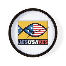 Jesus Saves USA Wall Clock