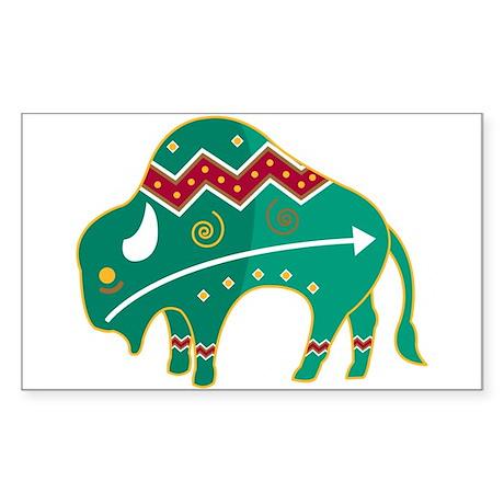 Indian Spirit Buffalo Rectangle Sticker