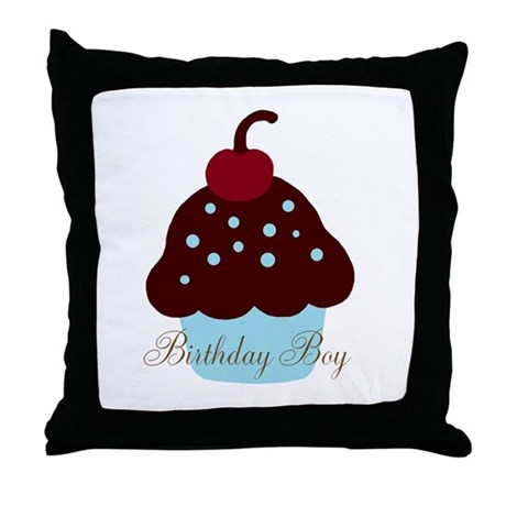Birthday Boy Cupcake Throw Pillow