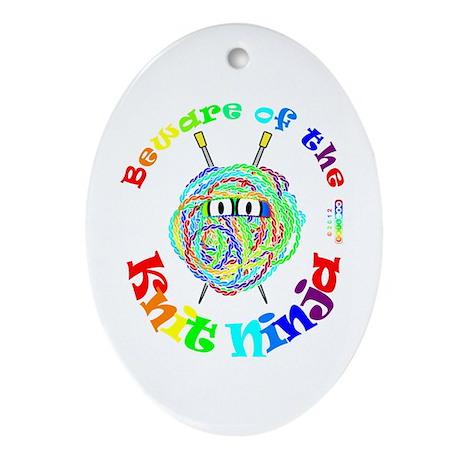 Beware of the Knit Ninja Ornament (Oval)