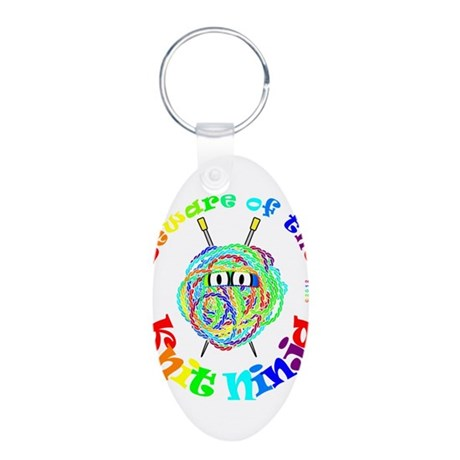 Beware of the Knit Ninja Aluminum Oval Keychain