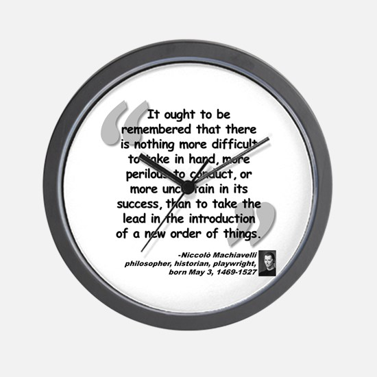 Machiavelli Lead Quote Wall Clock
