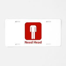 Need Head Aluminum License Plate
