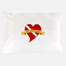Love Scuba Diving Heart Pillow Case