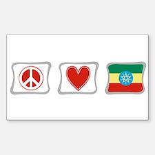 Peace, Love and Ethiopia Sticker (Rectangle)
