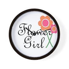 Orange Daisy Flower Girl.png Wall Clock