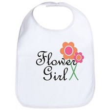 Orange Daisy Flower Girl.png Bib