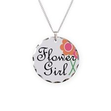 Orange Daisy Flower Girl.png Necklace