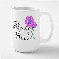 Purple Daisy Flower Girl.png Large Mug