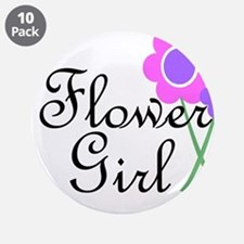 """Purple Daisy Flower Girl.png 3.5"""" Button (10 pack)"""