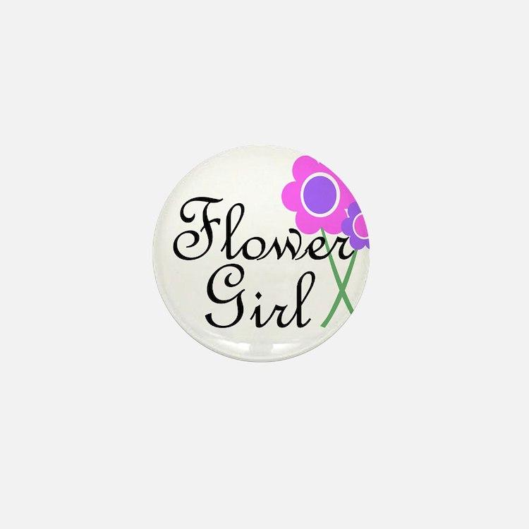 Purple Daisy Flower Girl.png Mini Button