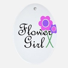 Purple Daisy Flower Girl.png Ornament (Oval)