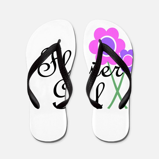 Purple Daisy Flower Girl.png Flip Flops
