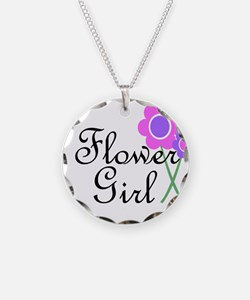Purple Daisy Flower Girl.png Necklace