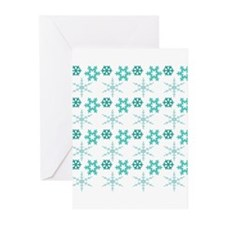 aqua snowflakes Greeting Cards (Pk of 10)