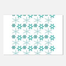 aqua snowflakes Postcards (Package of 8)