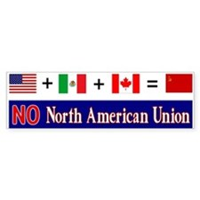 NO North American Union Bumper Bumper Stickers