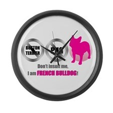 Don'tInsultBlackLetterPink.png Large Wall Clock