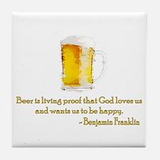 Franklin on Beer Tile Coaster