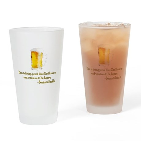 Franklin on Beer Drinking Glass