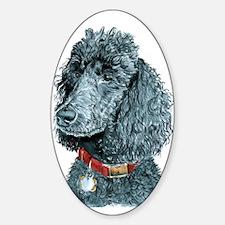Black Poodle Whitney Sticker (Oval)