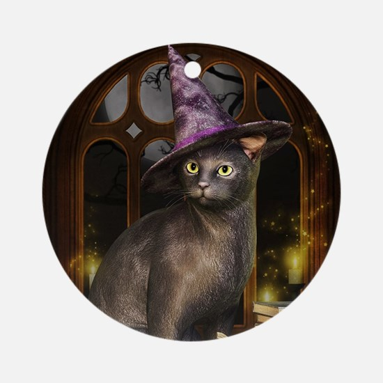 Witch Kitty Cat Round Ornament