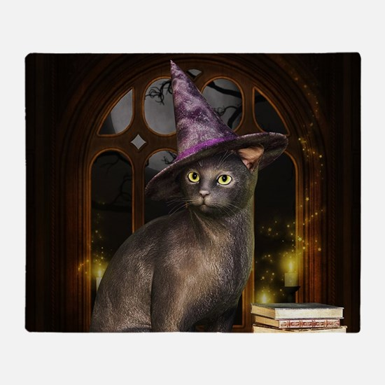 Witch Kitty Cat Throw Blanket