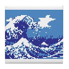 Pixel Tsunami Blue Tile Coaster