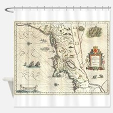 Vintage Map of New England (1635) Shower Curtain