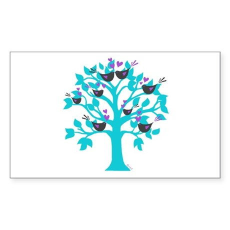 lovebirds KISSING in a tree of life Sticker (Recta