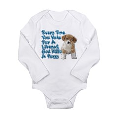 God Kills A Puppy Long Sleeve Infant Bodysuit