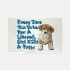 God Kills A Puppy Rectangle Magnet (100 pack)