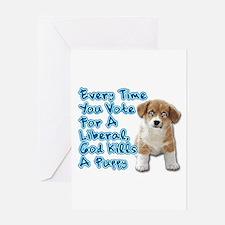 God Kills A Puppy Greeting Card