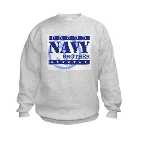 Proud Navy Brother Kids Sweatshirt