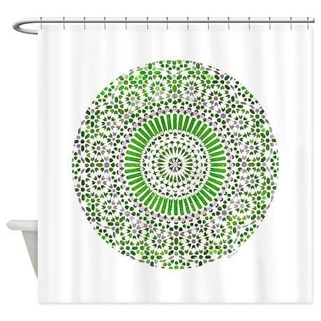 green heart fourth chakra mosaic circle Shower Cur