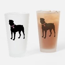 Rottweiler Breast Cancer Support Drinking Glass