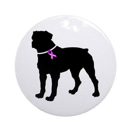 Rottweiler Breast Cancer Supp Ornament (Round)