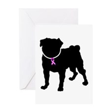 Pug Breast Cancer Support Greeting Card