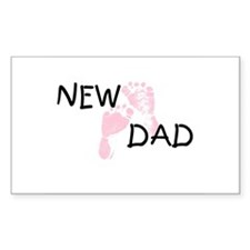 New Dad PINK Rectangle Decal