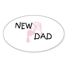 New Dad PINK Oval Decal