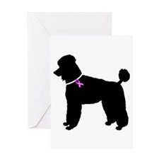 Poodle Breast Cancer Support Greeting Card